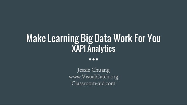 Make Learning Big Data Work For You XAPI Analytics Jessie Chuang www.VisualCatch.org Classroom-aid.com