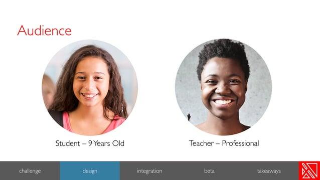 5 challenge design integration beta Student – 9Years Old Teacher – Professional takeaways Audience