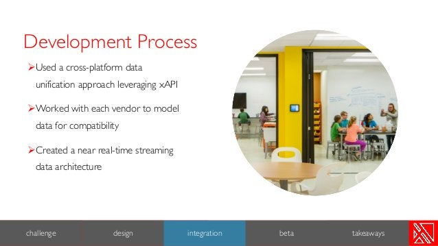 Development Process 7 ØUsed a cross-platform data unification approach leveraging xAPI ØWorked with each vendor to model d...