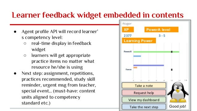 Learner feedback widget embedded in contents ● Agent profile API will record learner' s competency level: ○ real-time disp...