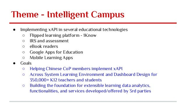 Theme - Intelligent Campus ● Implementing xAPI in several educational technologies ○ Flipped learning platform - 1Know ○ I...