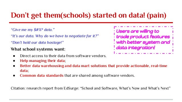 """Don't get them(schools) started on data! (pain) """"Give me my $#%* data."""" """"It's our data. Why do we have to negotiate for it..."""