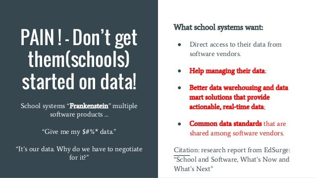 PAIN ! - Don't get them(schools) started on data! What school systems want: ● Direct access to their data from software ve...