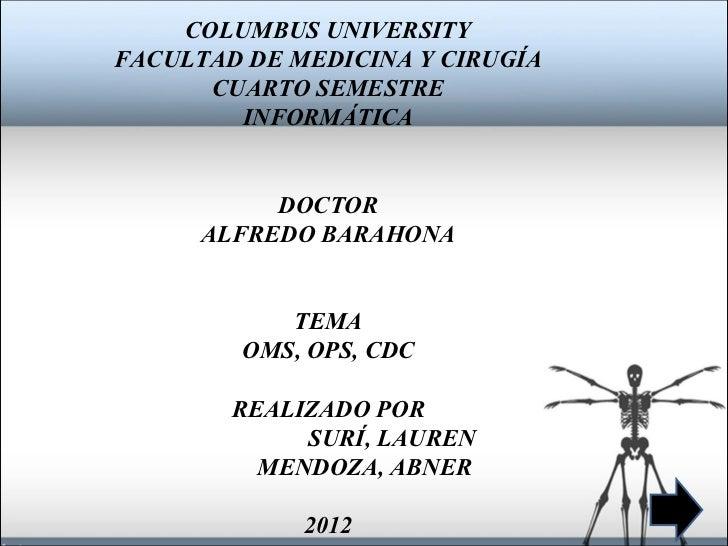 COLUMBUS UNIVERSITYFACULTAD DE MEDICINA Y CIRUGÍA      CUARTO SEMESTRE        INFORMÁTICA           DOCTOR      ALFREDO BA...