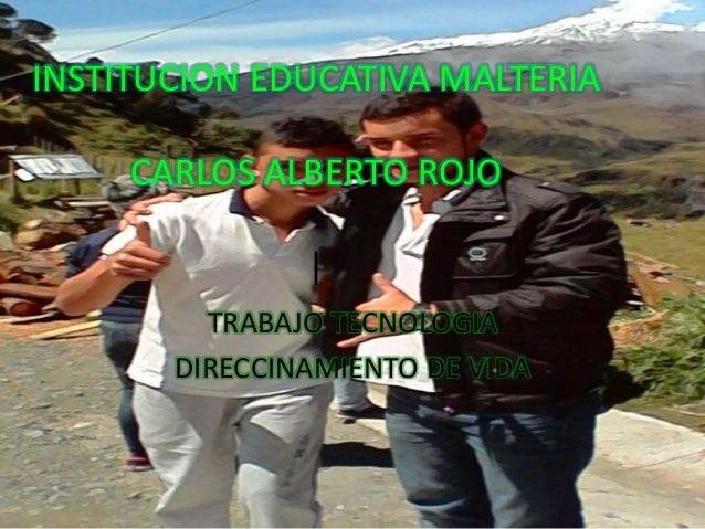 INSTITUCION EDUCATIVA MALTERIA  CARLOS ALBERTO ROJO  |  TRABAJO TECNOLOGIA  DIRECCINAMIENTO DE VIDA