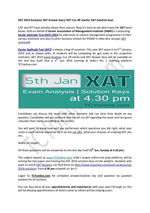 Xat analysis xat answer keys xat solutions for Soil xat cut off