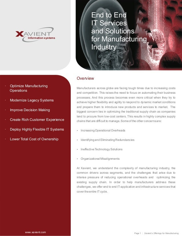Page 1 Xavient's Offerings for Manufacturing AVIENT Information systems Overview Manufacturers across globe are facing tou...