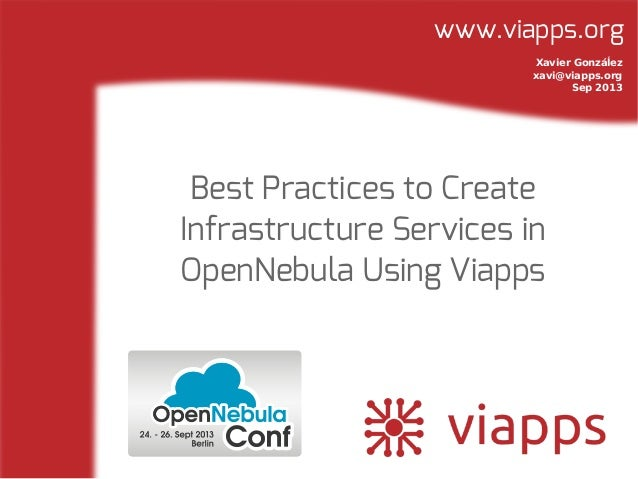 www.viapps.org Best Practices to Create Infrastructure Services in OpenNebula Using Viapps Xavier Gonzáĺez xavi@viapps.org...