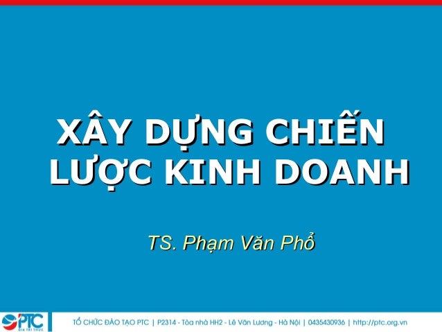 XÂY DỰNG CHIẾNXÂY DỰNG CHIẾNLƯỢC KINH DOANHLƯỢC KINH DOANHTS. Phạm Văn PhổTS. Phạm Văn Phổ