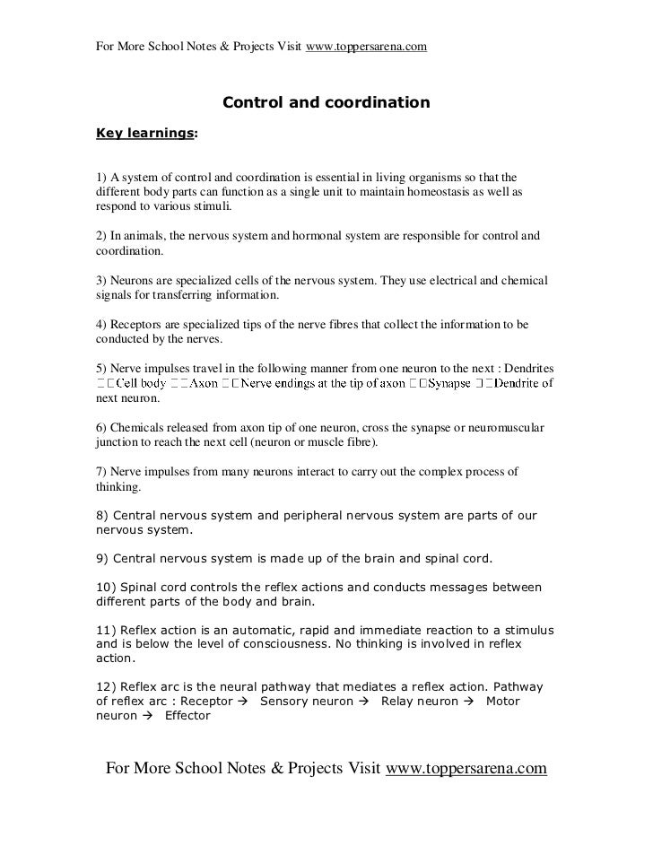 For More School Notes & Projects Visit www.toppersarena.com                         Control and coordinationKey learnings:...