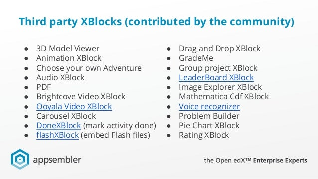 A Survey of XBlocks for extending Open edX