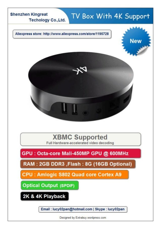 XBMC AMlogic s802 quad Core Android TV Box With 4k Support
