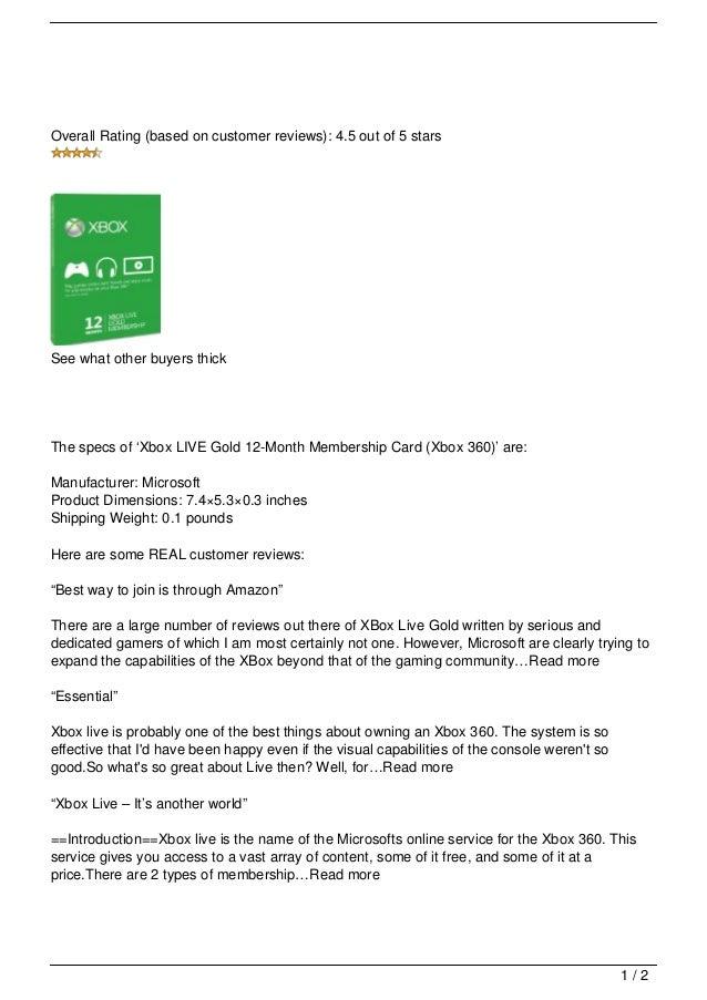 Xbox Live Gold 12 Month Membership Card Xbox 360