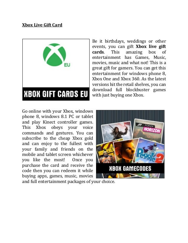 Xbox live cards livecards
