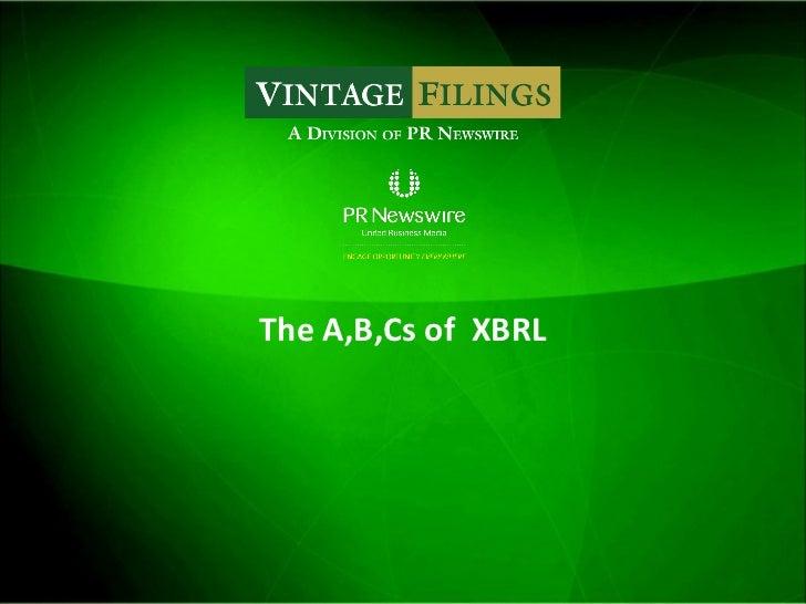 The A,B,Cs of  XBRL