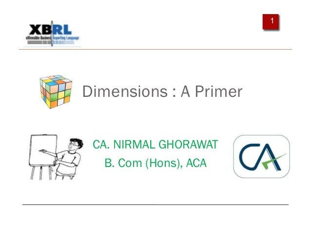 1Dimensions : A Primer CA. NIRMAL GHORAWAT   B. Com (Hons), ACA