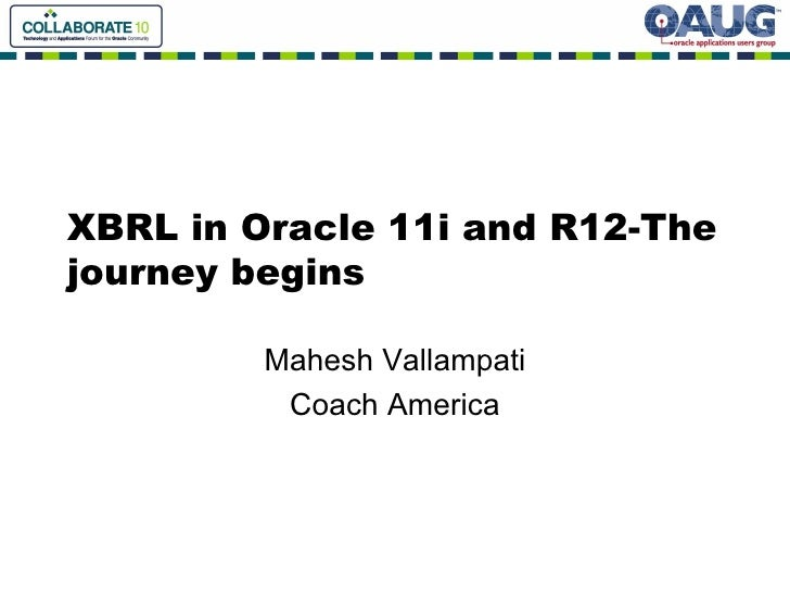 XBRL in Oracle 11i and R12