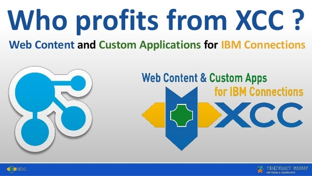 Who profits from XCC ? Web Content and Custom Applications for IBM Connections