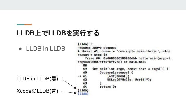 LLDB上でLLDBを実行する ● LLDB in LLDB LLDB in LLDB(黒) XcodeのLLDB(青)