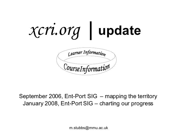 xcri.org  |  update Learner Information CourseInformation September 2006, Ent-Port SIG  – mapping the territory January 20...