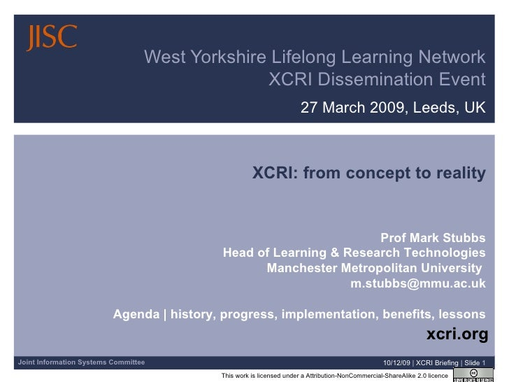 27 March 2009, Leeds, UK West Yorkshire Lifelong Learning Network XCRI Dissemination Event 08/06/09   |  XCRI Briefing  | ...