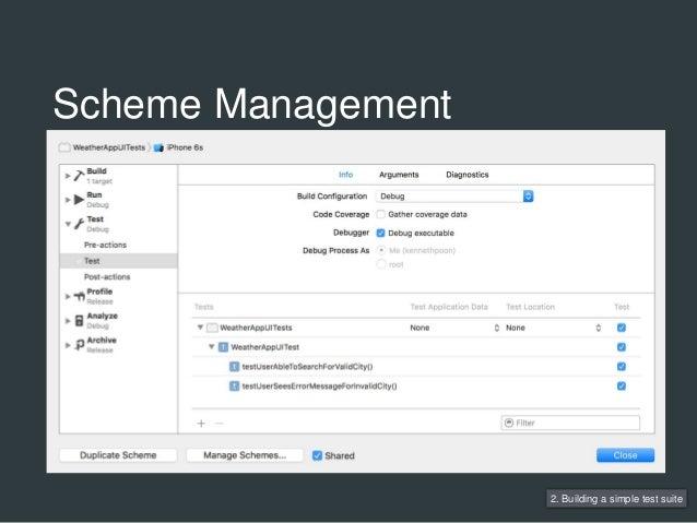 2. Building a simple test suite Scheme Management