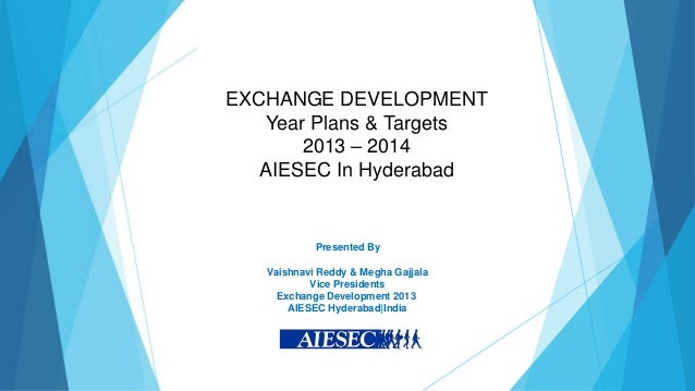 EXCHANGE DEVELOPMENT   Year Plans & Targets       2013 – 2014   AIESEC In Hyderabad            Presented By   Vaishnavi Re...
