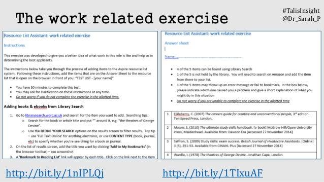http://bit.ly/1nIPLQj http://bit.ly/1TIxuAF The work related exercise #TalisInsight @Dr_Sarah_P