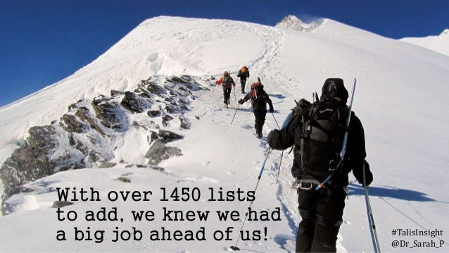 With over 1450 lists to add, we knew we had a big job ahead of us! #TalisInsight @Dr_Sarah_P
