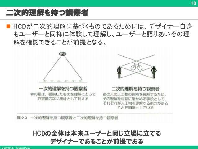 Copyright © Masaya Ando 18 二次的理解を持つ観察者 n HCDが二次的理解に基づくものであるためには、デザイナー自身 もユーザーと同様に体験して理解し、ユーザーと語りあいその理 解を確認できることが前提となる。 (Kr...