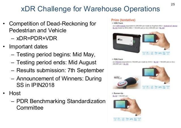 xDR Challenge for Warehouse Operations • Competition of Dead-Reckoning for Pedestrian and Vehicle – xDR=PDR+VDR • Importan...