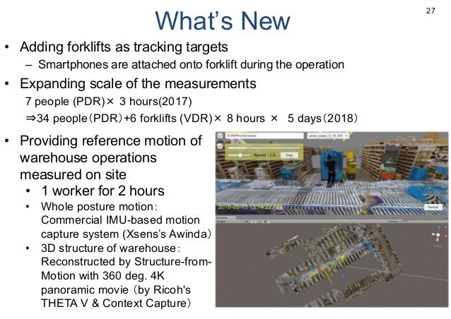 What's New • Adding forklifts as tracking targets – Smartphones are attached onto forklift during the operation • Expandin...