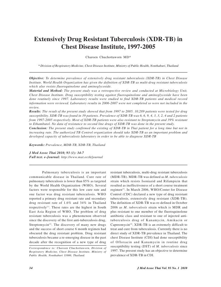 Extensively Drug Resistant Tuberculosis (XDR-TB) in               Chest Disease Institute, 1997-2005                      ...