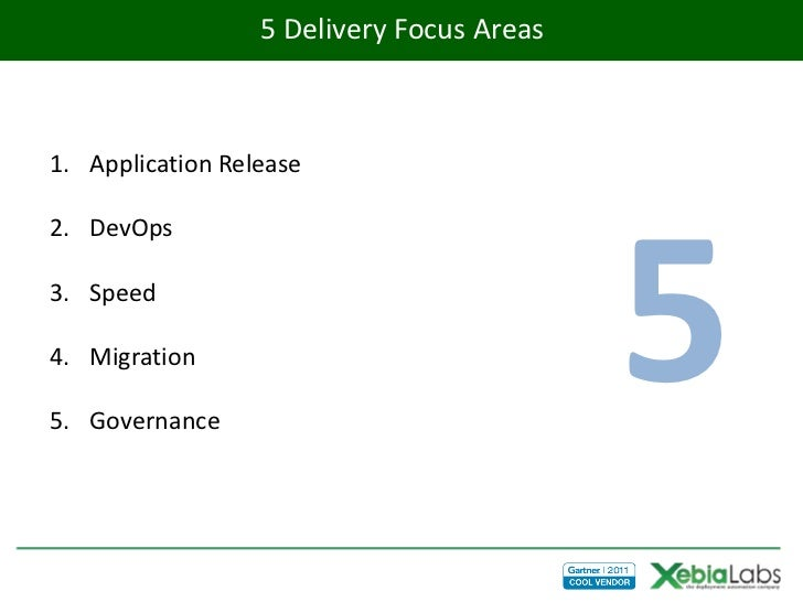 5 Delivery Focus Areas1. Application Release                                           52. DevOps3. Speed4. Migration5. Go...