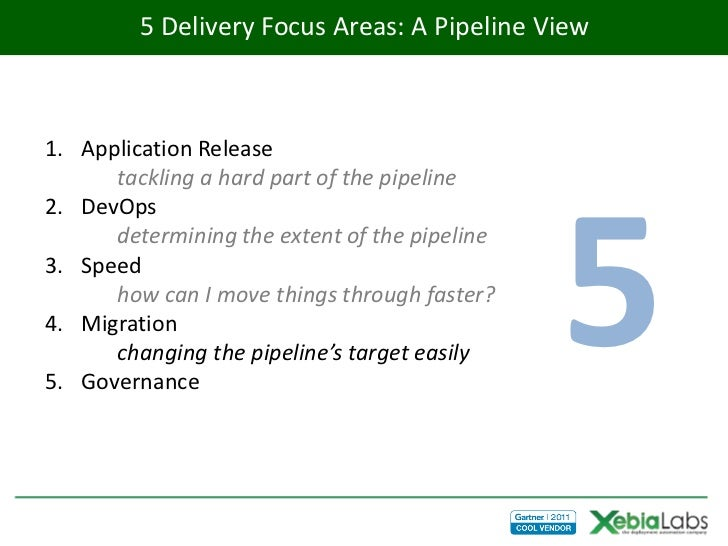 5 Delivery Focus Areas: A Pipeline View1. Application Release      tackling a hard part of the pipeline                   ...
