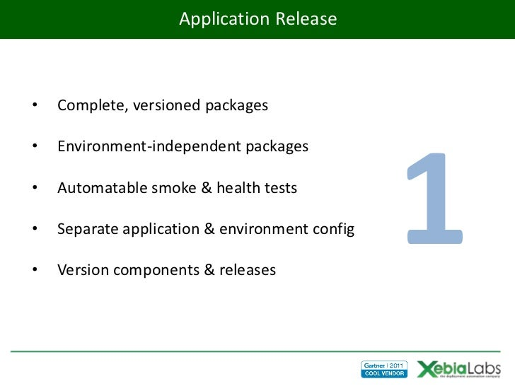 Application Release•   Complete, versioned packages•                                                1    Environment-indep...