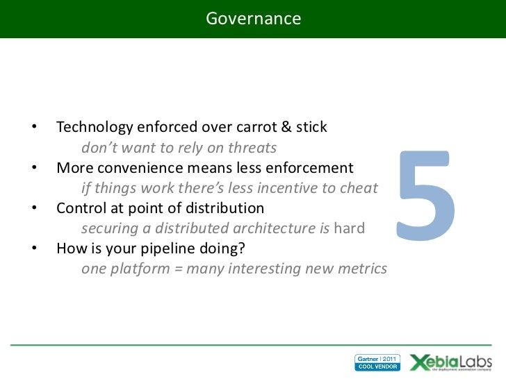 Governance•   Technology enforced over carrot & stick                                                        5       don't...