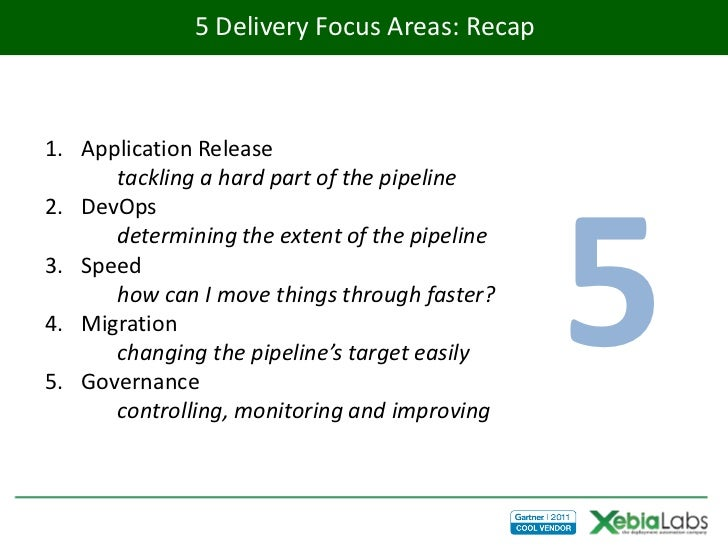 5 Delivery Focus Areas: Recap1. Application Release      tackling a hard part of the pipeline                             ...