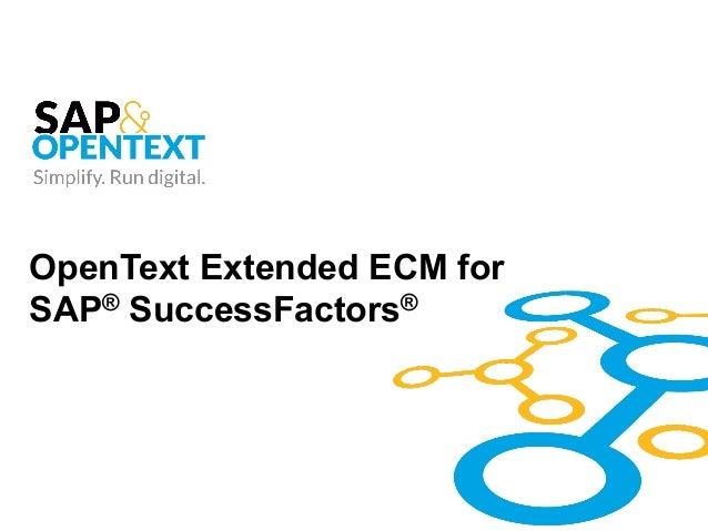 OpenText Extended ECM for SAP® SuccessFactors®