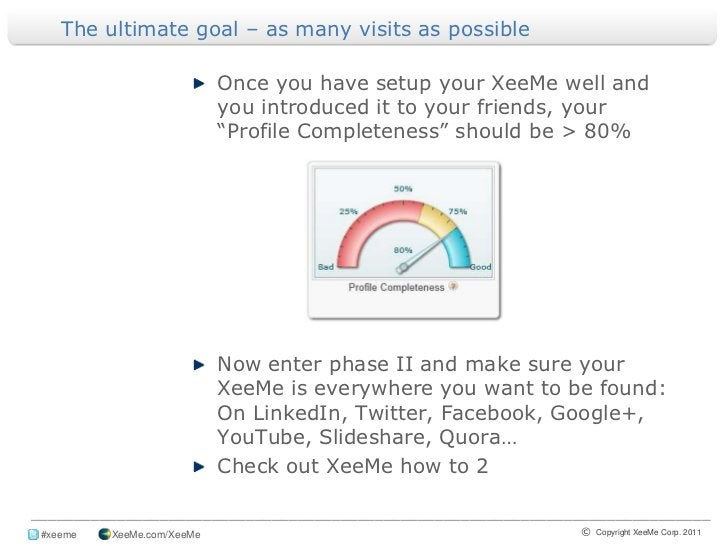 The ultimate goal – as many visits as possible<br />Once you have setup your XeeMe well and you introduced it to your frie...