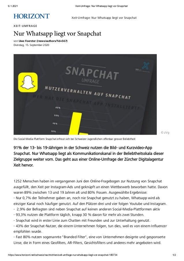 6.1.2021 Xeit-Umfrage: Nur Whatsapp liegt vor Snapchat https://www.horizont.net/schweiz/nachrichten/xeit-umfrage-nur-whats...