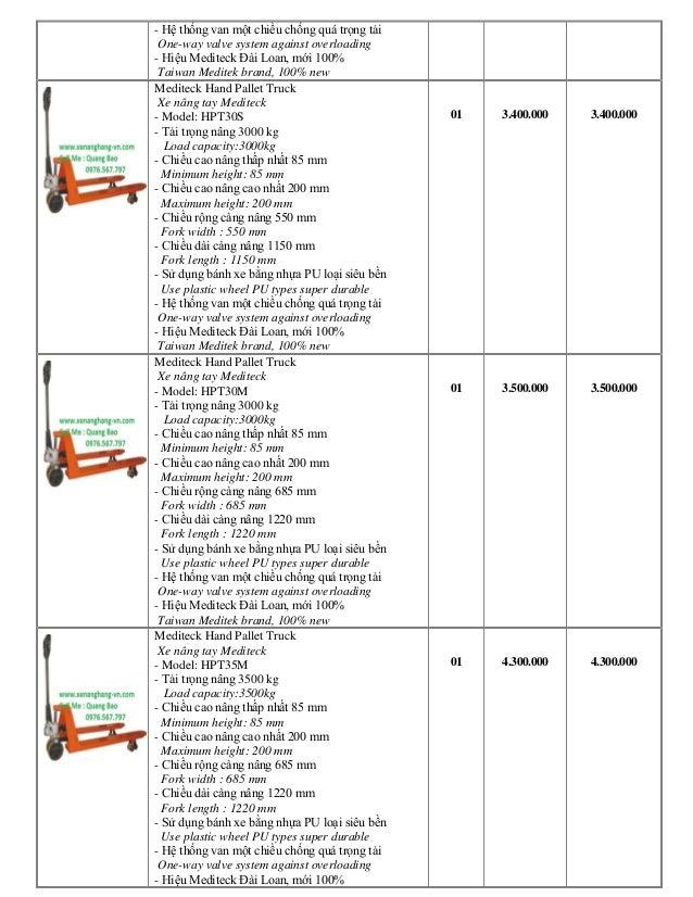 Xe Nâng tay Đài Loan, Đức, Nhật tải trọng nâng từ 2,5 đến 5 tấn Slide 2