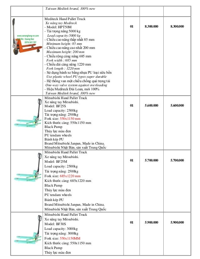 Xe Nâng tay Đài Loan, Đức, Nhật tải trọng nâng từ 2,5 đến 5 tấn Slide 3