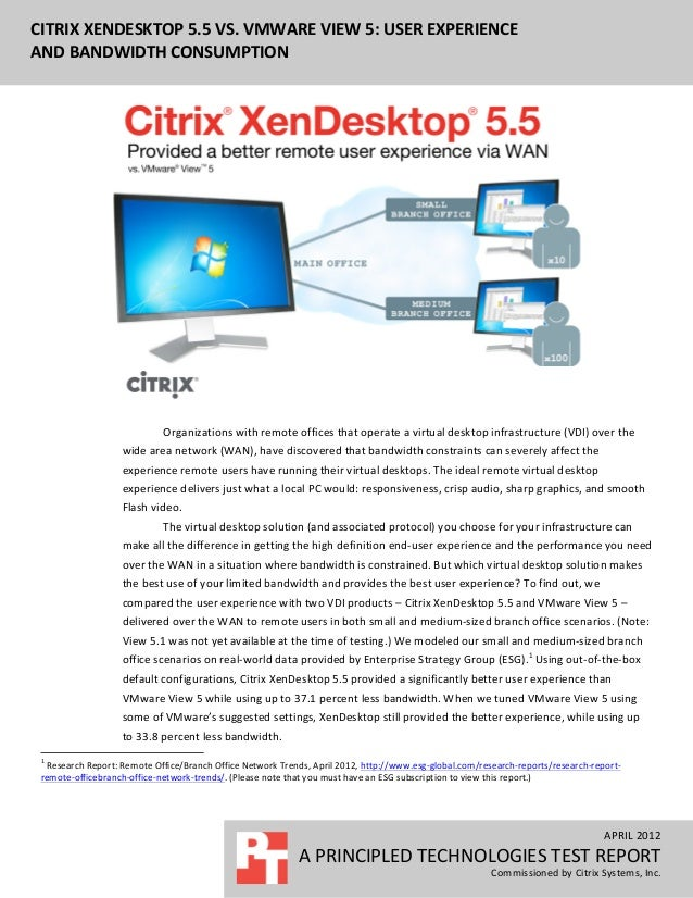 CITRIX XENDESKTOP 5.5 VS. VMWARE VIEW 5: USER EXPERIENCE   AND BANDWIDTH CONSUMPTION           ...