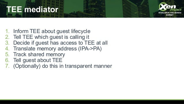 TEE mediator 1. Inform TEE about guest lifecycle 2. Tell TEE which guest is calling it 3. Decide if guest has access to TE...