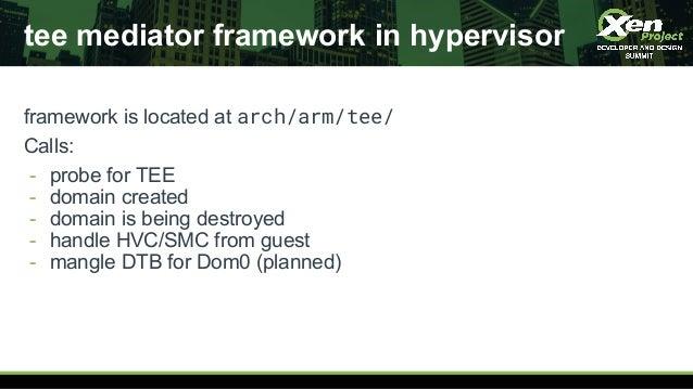 tee mediator framework in hypervisor framework is located at arch/arm/tee/ Calls: - probe for TEE - domain created - domai...