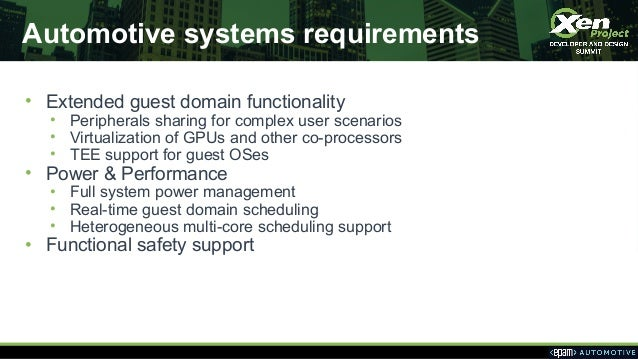 Automotive systems requirements • Extended guest domain functionality • Peripherals sharing for complex user scenarios • V...