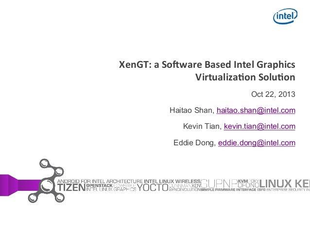 !  XenGT:  a  So+ware  Based  Intel  Graphics   Virtualiza;on  Solu;on Oct 22, 2013 Haitao Shan, haitao.shan...