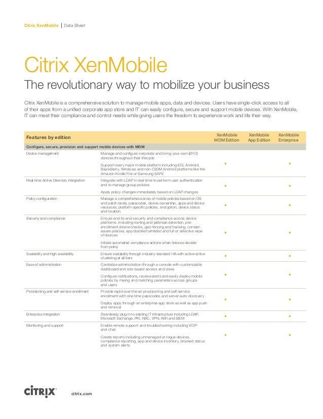 Citrix XenMobile Data Sheetcitrix.comCitrix XenMobileThe revolutionary way to mobilize your businessCitrix XenMobile is a ...