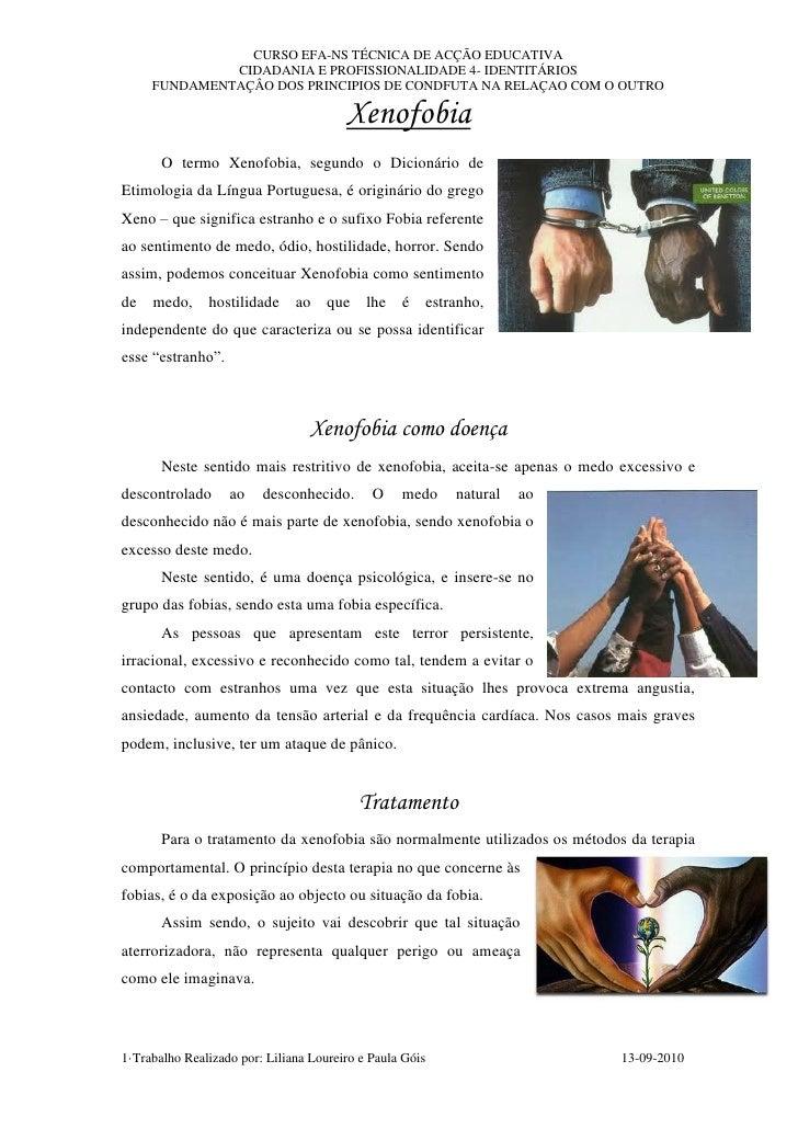 CURSO EFA-NS TÉCNICA DE ACÇÃO EDUCATIVA              CIDADANIA E PROFISSIONALIDADE 4- IDENTITÁRIOS     FUNDAMENTAÇÂO DOS P...